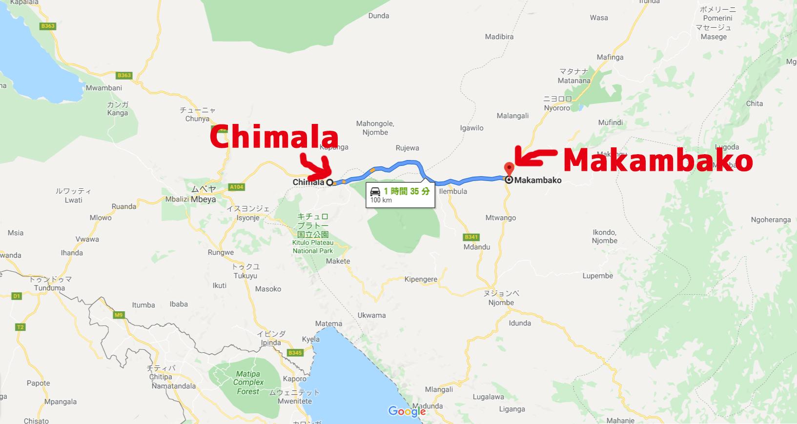 ChimalaからMakambakoへの地図