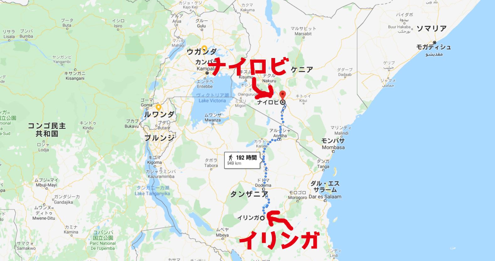 イリンガからナイロビへの地図