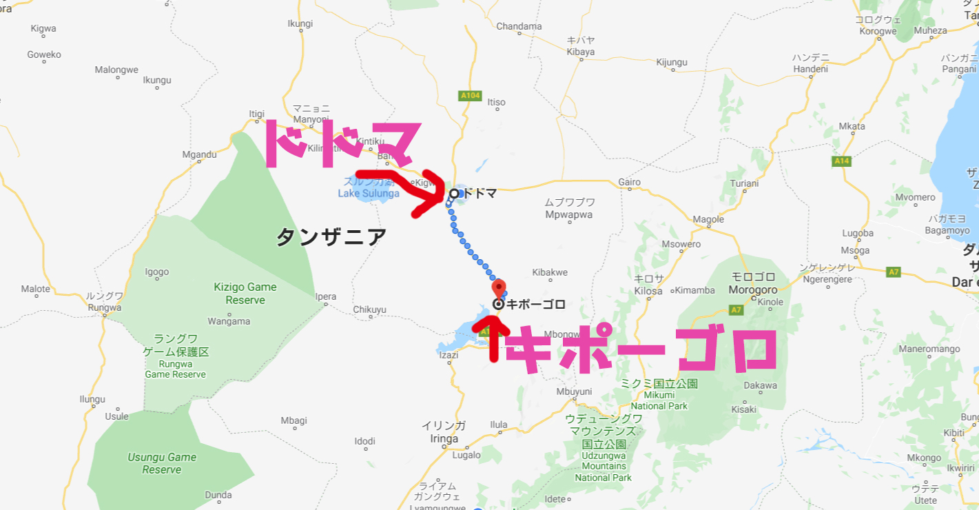 キポーゴロからドドマまでの地図