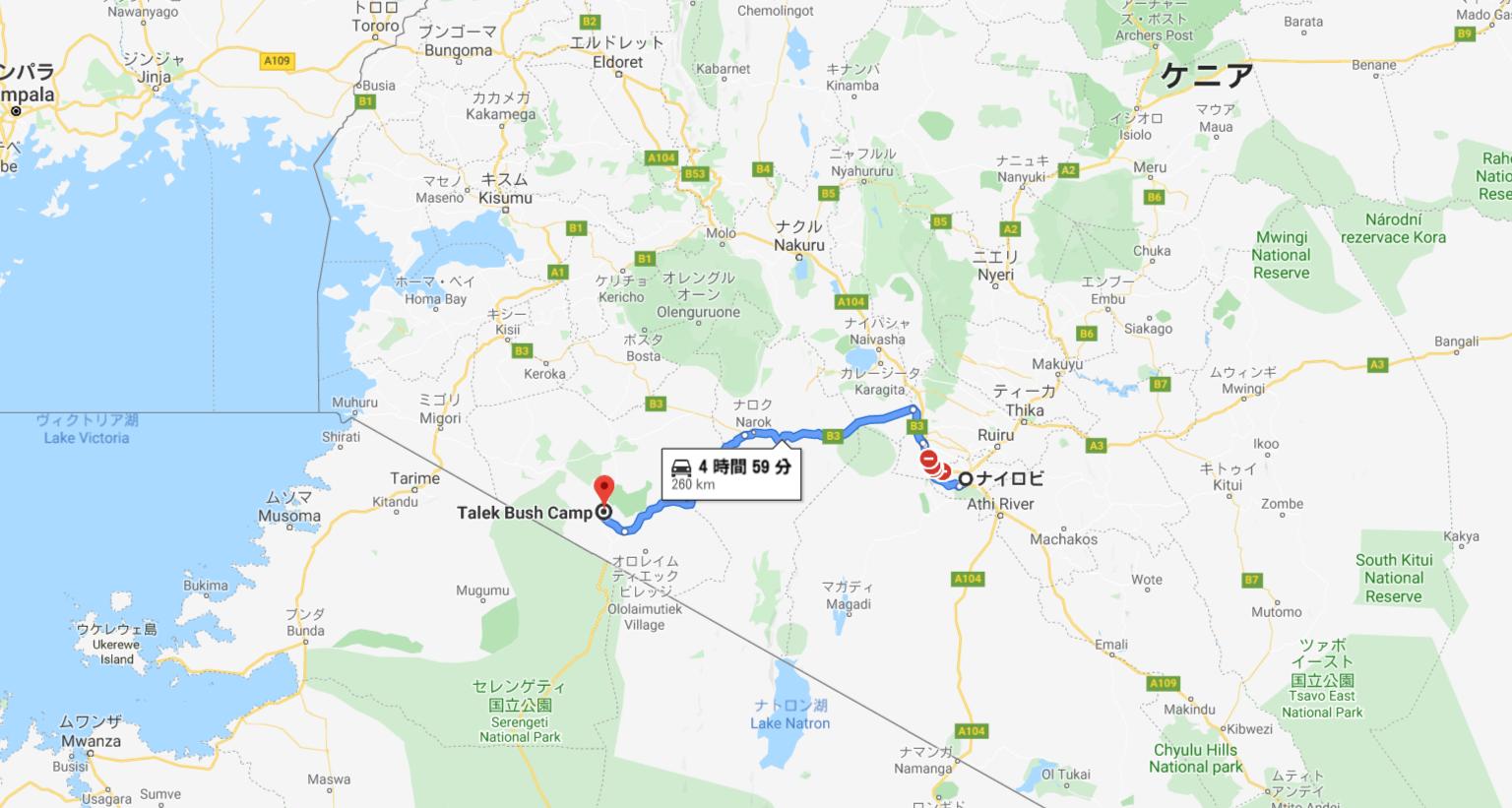 ナイロビからキャンプ場への地図