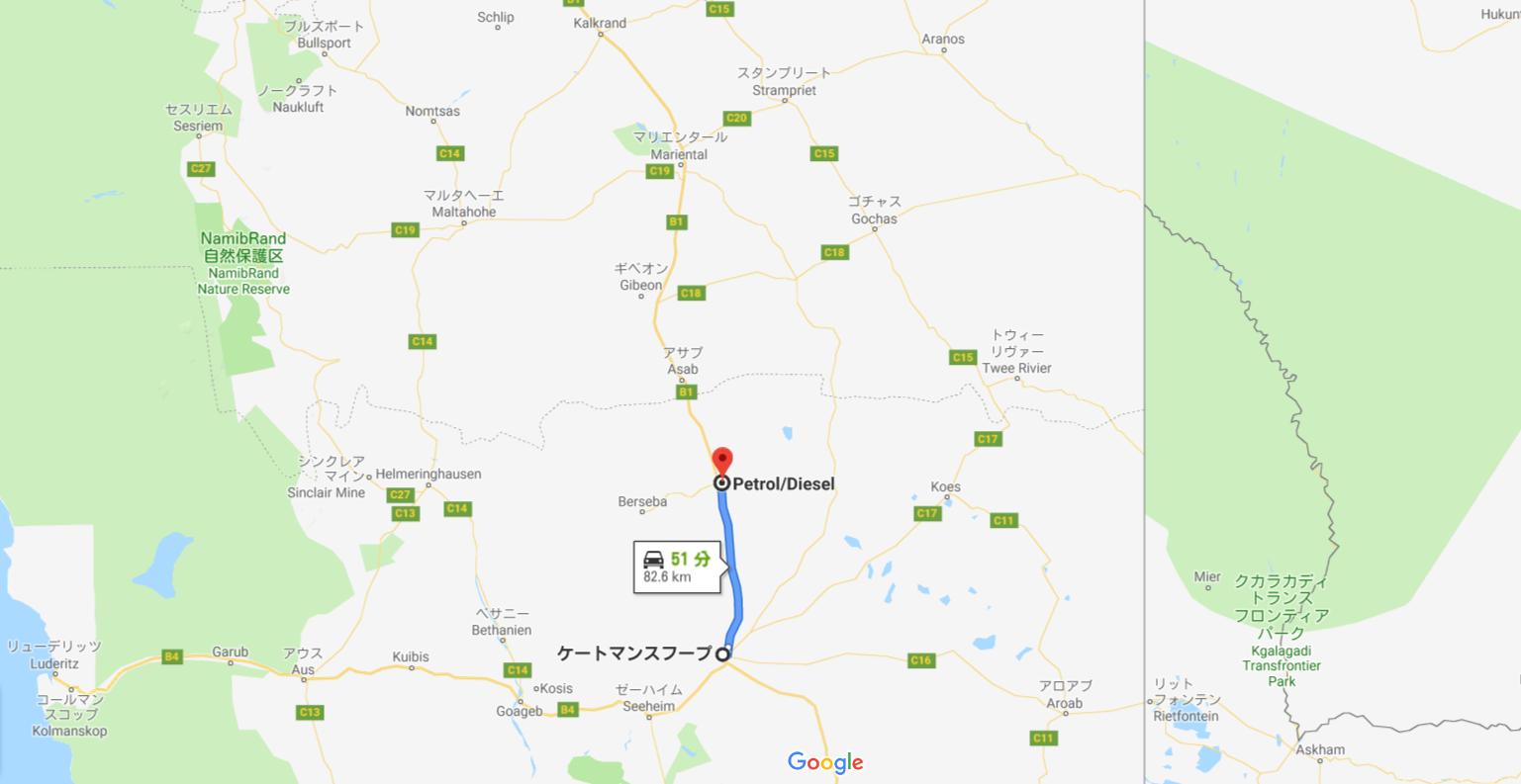 ツェス村までの地図